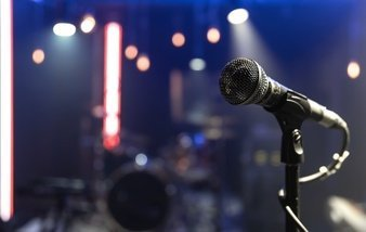 Close up microphone concert stage with beautiful lighting 169016 11074